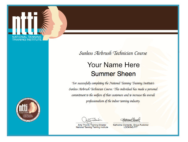 Example of a NTTI certificate