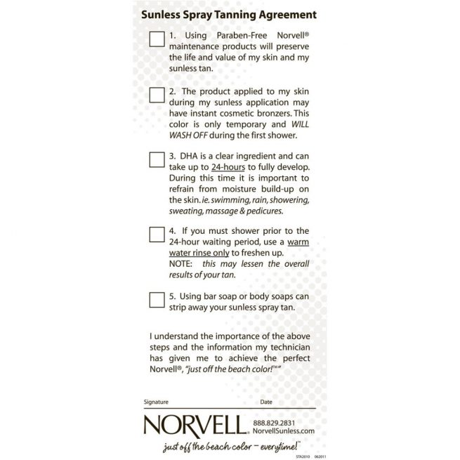 Norvell Sunless Client Checklist (Agreement) Pad
