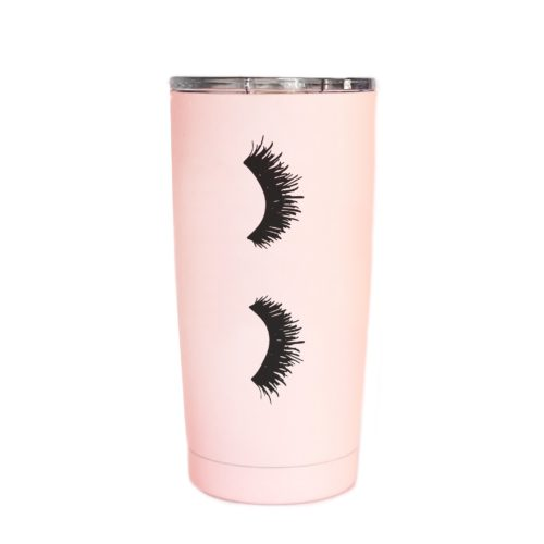Sweet Water Decor Eyelashes Pink Metal Travel Mug